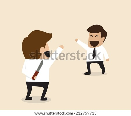 Vector cartoon of Businessman greeting his friend with knife behind the back - stock vector