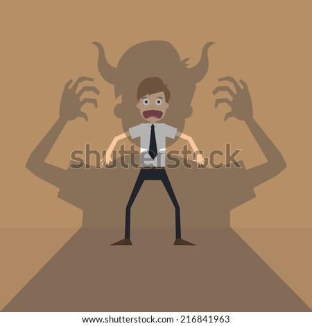 Vector cartoon of Businessman terror devil shadow .vector - stock vector