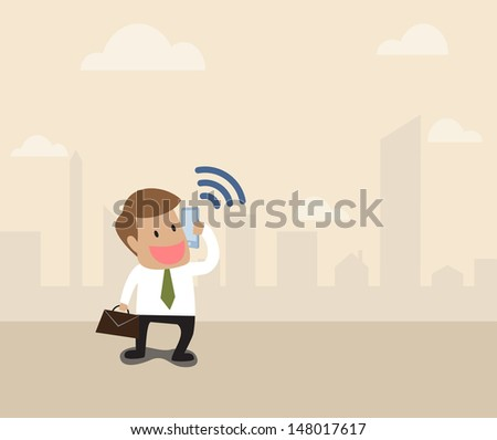 Vector cartoon of Businessman use smart phone with wifi symbol - stock vector