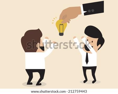 Vector cartoon of Businessmen is given an idea lightbulb - stock vector