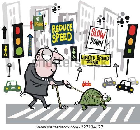 Vector cartoon of elderly man crossing city street with pet tortoise - stock vector