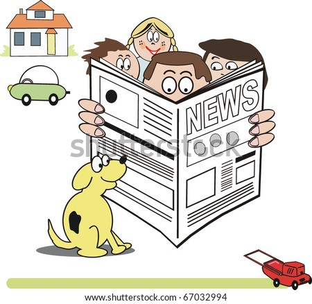 Vector cartoon of family group reading newspaper. - stock vector
