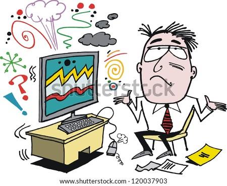 Vector cartoon of frustrated man with defective computer. - stock vector