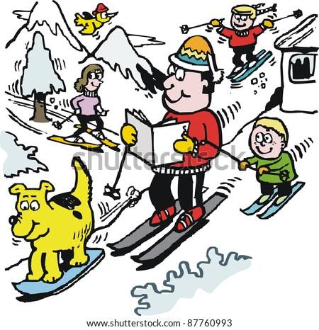 Vector cartoon of happy skier reading newspaper on mountain slope. - stock vector