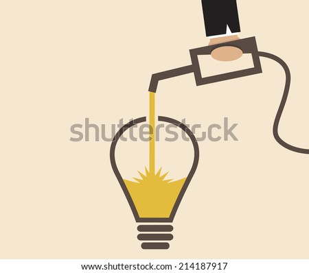 Vector cartoon of Idea lightbulb is refilled - stock vector