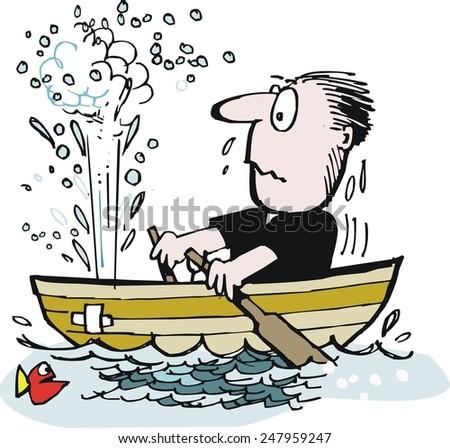 Vector cartoon of man trying to row leaky boat in ocean - stock vector