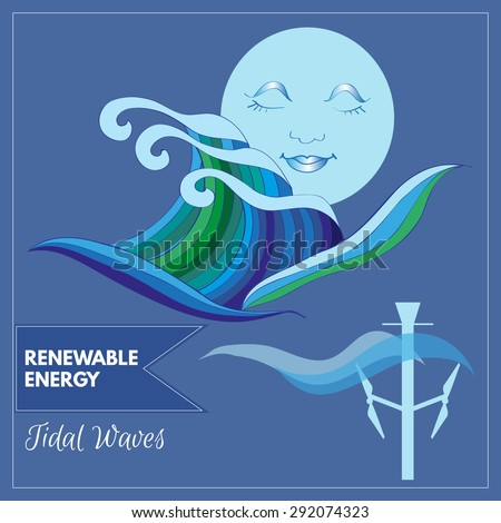 Vector cartoon of Moon shining over ocean representing tidal waves as a source of renewable energy - stock vector