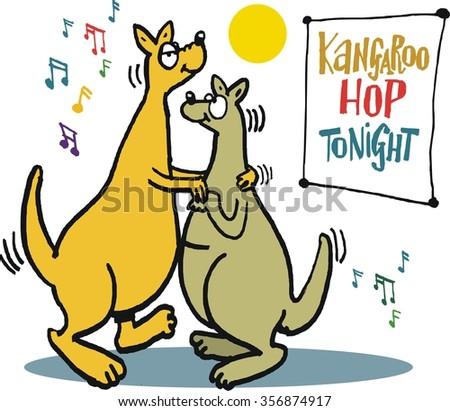 Vector cartoon of romantic kangaroos dancing cheek to cheek with music background. - stock vector
