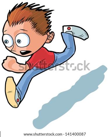 vector cartoon of running boy. He looks anxious to reach his destination. - stock vector