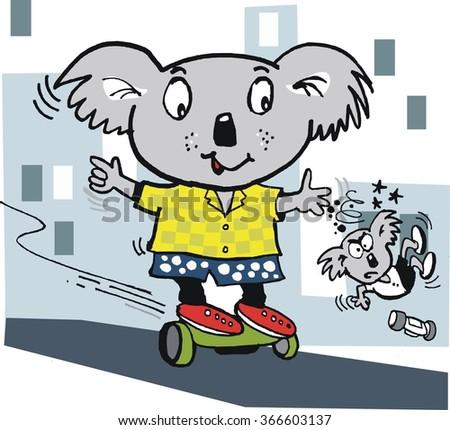 Vector cartoon of smiling koala bear balancing on hover board.  - stock vector