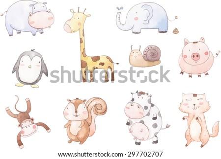 Vector cartoon of ten baby animals - stock vector