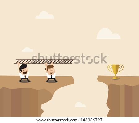 Vector cartoon of Two Businessman carry ladder to cross the space to destination - stock vector