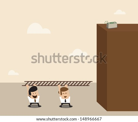 Vector cartoon of Two businessman carry ladder to go to the top of building - stock vector