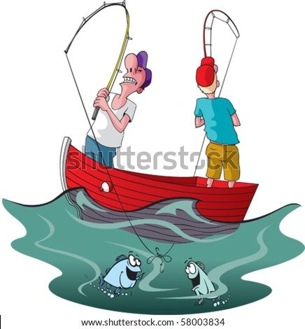 Vector cartoon of two tangled up fishermen. - stock vector