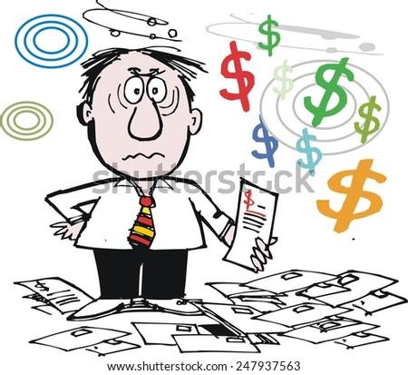 Vector cartoon of unhappy man with bills and debts - stock vector