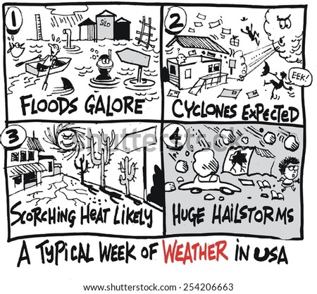 Vector cartoon of weather forecasts for floods, hail, and drought - stock vector