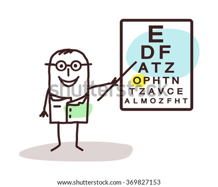 vector cartoon ophtalmologist with signs on board - stock vector