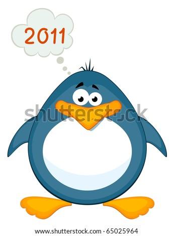 Vector cartoon penguin - stock vector
