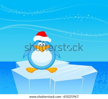 Vector cartoon penguin on an iceberg in an ocean - stock vector