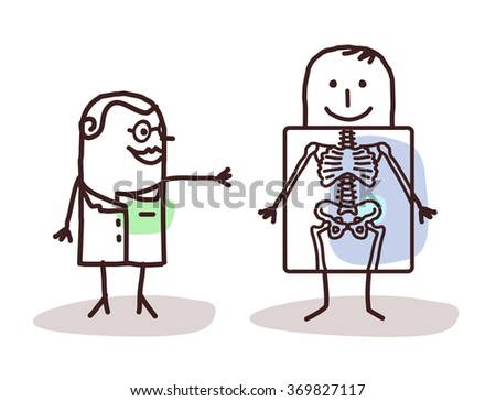 vector cartoon radiologist with patient - stock vector