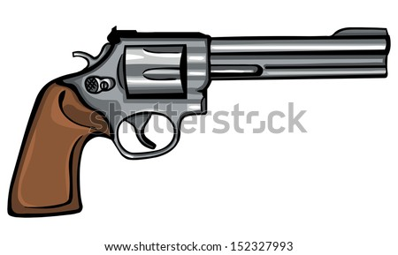 vector cartoon revolver - stock vector