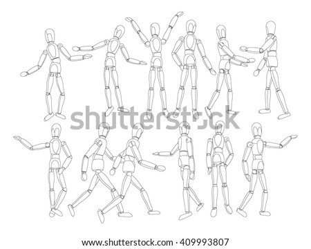 Vector cartoon robot man. Android figure. Toy robot people. Vector robot toy. Vector  humanoid isolated on white background. Vector robot man in different actions. - stock vector