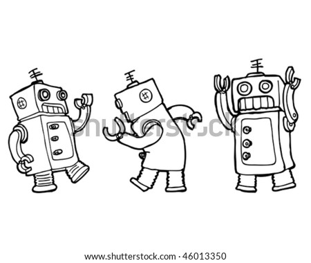Vector cartoon robots dancing the robot (line) - stock vector