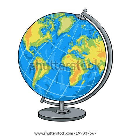 Vector Cartoon School Geographical Globe - stock vector