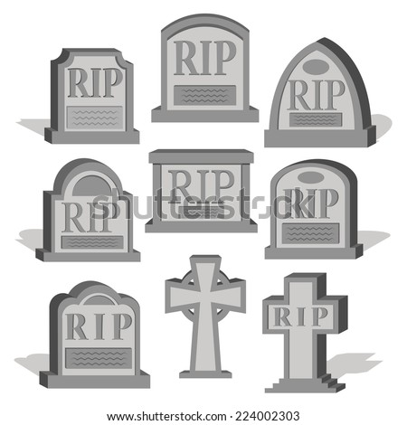 Vector Cartoon Set Of Different Graves Isolated - stock vector