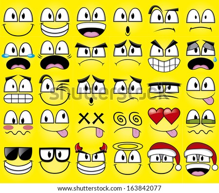 Vector Cartoon Set Of Thirty Different Faces - stock vector