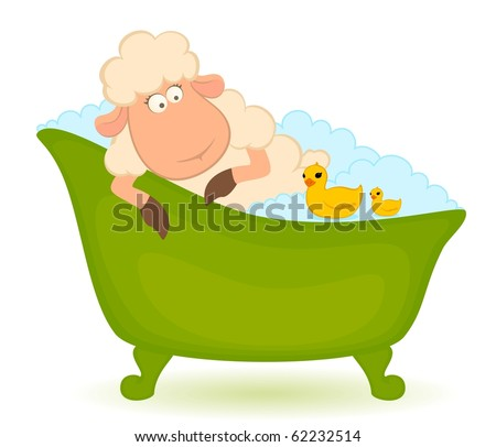 Vector cartoon sheep in bath is isolated on white background - stock vector