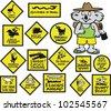 Vector cartoon showing funny Australian road signs and koala bear. - stock vector