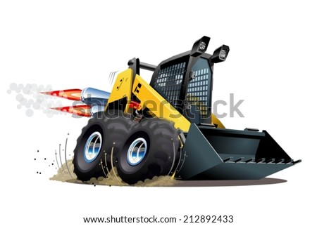 Vector Cartoon Skid Steer. Available EPS-10 vector format separated by groups for easy edit - stock vector