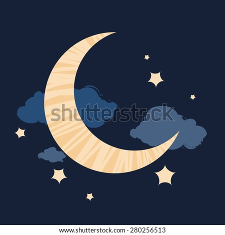 Vector cartoon style illustration of dark blue night sky with moon, stars and clouds - stock vector