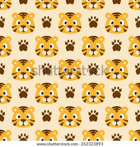 Vector Cartoon Tiger Seamless Background Pattern - stock vector