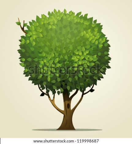 Vector cartoon tree - stock vector