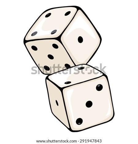 Vector Cartoon Two Dices. Casino Icon. - stock vector