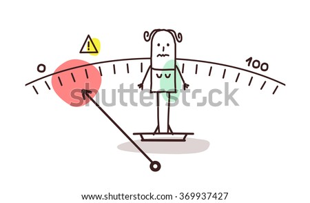 vector cartoon underweight woman - stock vector