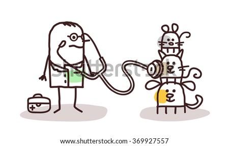vector cartoon veterinary with pets - stock vector