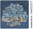 Vector cartoon winter fairytale town greeting card - stock vector