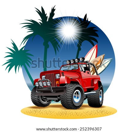 Vector cartoon 4x4 car on beach. Available EPS-10 vector format separated by groups and layers with transparency effects for one-click repaint - stock vector