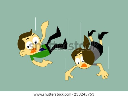 Vector Cartoons Business man and Business woman Falling Over, Business Risk, mistake Concepts  - stock vector