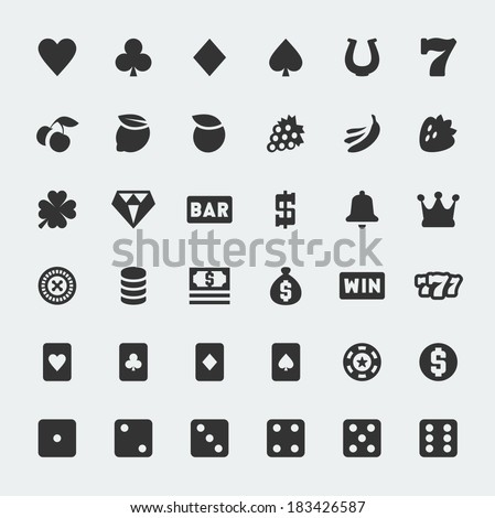 Vector casino and slot machine mini icons set - stock vector
