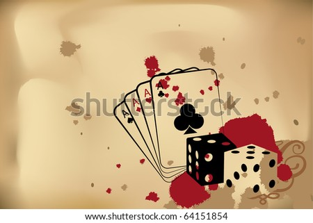 Vector casino background (dice and playind cards) - stock vector