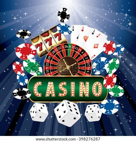 vector casino icons on blue starburst - stock vector
