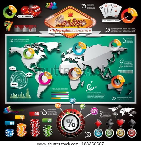 Vector Casino infographic set with world map and gambling elements. EPS 10 illustration. - stock vector