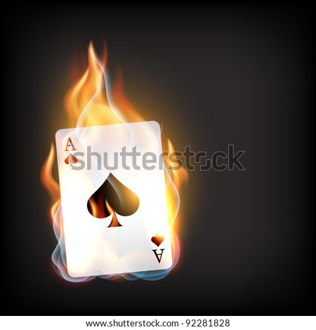 vector casino playing card on dark background - stock vector