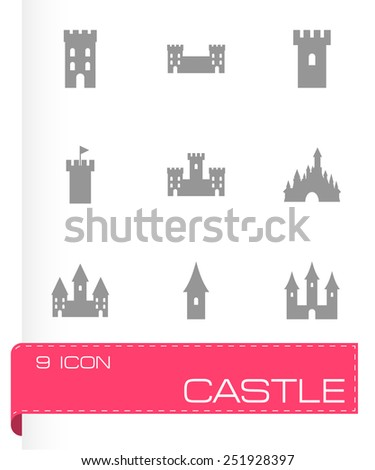 Vector castle icon set on grey background - stock vector
