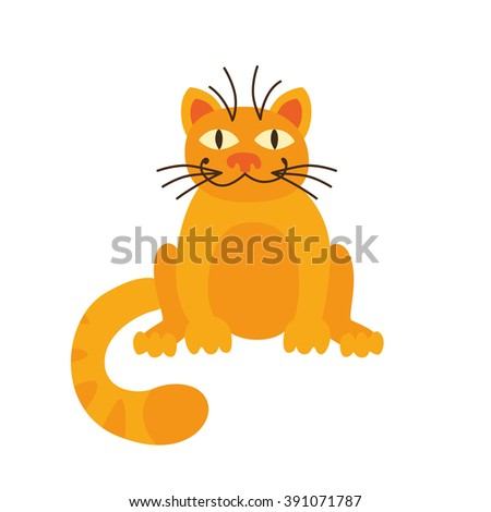 Vector cat. Funny character cartoon cat. Cat icon template. Cat isolated. Cat on white. - stock vector