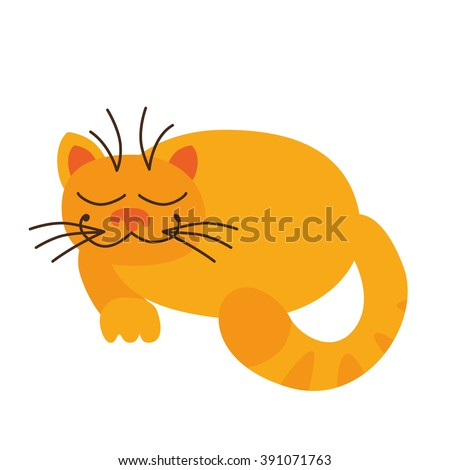 Vector cat sleeping. Funny character cartoon cat. Cat icon template. Cat isolated. Cat on white. - stock vector